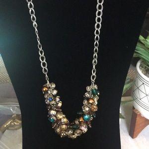 Ann Taylor Loft jeweled silver statement necklace